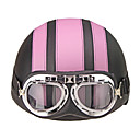 cheap Motorcyle Helmets-Motorcycle Helmet Open Face Visor Motocross Motor Helmets With Goggles Scarf Adjustable For Hare Retro Outdoor Cycling Pink