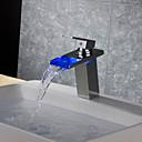 preiswerte Regeneffekte Duschköpfe-Moderne Art déco/Retro Modern deckenmontiert Wasserfall Thermostatische LED Keramisches Ventil Ein Loch Einhand Ein Loch Chrom,