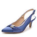 cheap Women's Sandals-Women's Shoes Silk / Nylon Summer / Fall Slingback / Club Shoes Sandals Stiletto Heel Pointed Toe Rhinestone / Crystal / Buckle White /