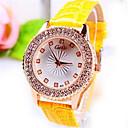 preiswerte Nachtleuchten-Damen Armbanduhr Quartz Leder Band Analog Schwarz / Gold / Gelb - Schwarz Gelb Rot orange