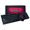 abordables Juegos de Teclado y Ratón-Sin Cable Combo de teclado de mouse Con el cojín de ratón Batería AA teclado para juegos