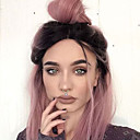 cheap Synthetic Lace Wigs-Synthetic Lace Front Wig Straight Style Bob Lace Front Wig Brown Pink Synthetic Hair Women's Middle Part Bob / Ombre Hair / Dark Roots Brown Wig Short Natural Wigs / Natural Hairline