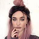 halpa Anime-peruukit-Synteettiset pitsireunan peruukit Suora Tyyli Bob-leikkaus Lace Front Peruukki Ruskea Pinkki Synteettiset hiukset Naisten Keskijakaus / Liukuvärjätyt hiukset / Tummat juuret Ruskea Peruukki Lyhyt