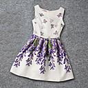 hesapli Tablolar-Kız Günlük Tatil Okul Polyester Yaz Kolsuz Elbise Çiçek Beyaz