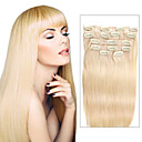 cheap Tape in Hair Extensions-Clip In Human Hair Extensions Straight Human Hair Light Blonde