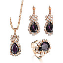 cheap Jewelry Sets-Women's Crystal Jewelry Set - Drop Luxury, Fashion, Elegant Include Ring / Necklace / Earrings / Bridal Jewelry Sets Purple / Red / Green For Christmas Gifts / Wedding / Party / Special Occasion
