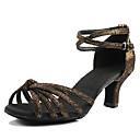 cheap Latin Shoes-Women's Silk Latin Shoes / Salsa Shoes Buckle Heel Customized Heel Customizable Black / Silver / Pink / Dark Brown / Performance / EU39