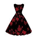 baratos Proteção Pessoal-Mulheres Feriado Vintage / Moda de Rua balanço Vestido Bordado Altura dos Joelhos