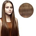 baratos Extensões de Cabelo Sintéticas-Com Presilha Extensões de cabelo humano Liso Extensões de Cabelo Natural Cabelo Humano Mulheres - Ash Brown