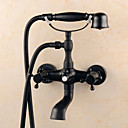 cheap Shower Faucets-Bathtub Faucet - Antique Oil-rubbed Bronze Centerset Ceramic Valve