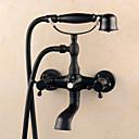 baratos Duchas & Acessórios-Torneira de Banheira - Clássica Bronze Polido a Óleo Conjunto Central Válvula Cerâmica