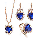 cheap Jewelry Sets-Women's Crystal Jewelry Set - Heart, Love Luxury, Fashion, Elegant, Bridal Include Ring Necklace / Earrings Bridal Jewelry Sets Red / Green / Blue For Christmas Gifts Wedding Party Special Occasion