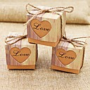 cheap Favor Holders-Round Square Cubic Card Paper Favor Holder with Heart Design Printing Favor Boxes - 50