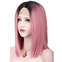 cheap Synthetic Lace Wigs-Synthetic Lace Front Wig Women's Straight Brown Bob Synthetic Hair Middle Part Bob / Ombre Hair / Dark Roots Brown Wig Short Lace Front Pink / Natural Hairline / Natural Hairline