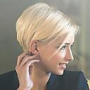 preiswerte Pädagogisches Spielzeug-Menschliches Haar Capless Perücken Echthaar Glatt Pixie-Schnitt Mit Pony Seitenteil Kurz Maschinell gefertigt Perücke Damen