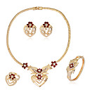 cheap Jewelry Sets-Women's Jewelry Set - Rhinestone Heart Fashion, Euramerican Include Stud Earrings Bracelet Necklace / Ring Gold For Wedding Party Anniversary / Rings / Birthday / Gift / Daily / Bracelets & Bangles