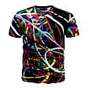 preiswerte Herren Freizeitschuhe-Herrn Geometrisch - Aktiv Sport Übergrössen Baumwolle T-shirt, Rundhalsausschnitt Schlank Druck / Kurzarm