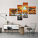cheap Wall Stickers-Oil Painting Hand Painted - Landscape Artistic Abstract Modern / Contemporary Canvas