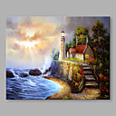 cheap LED Strip Lights-Oil Painting Hand Painted - Landscape Abstract Modern / Contemporary Canvas