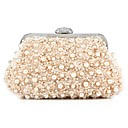 cheap Wedding Shoes-Women's Bags Polyester Coin Purse Rhinestone / Sequin / Pearls Champagne / White / Black