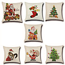 cheap Christmas Decorations-7 pcs Cotton / Linen Pillow Cover / Pillow Case, Novelty / Fashion / Christmas Retro / Traditional / Classic / Euro