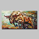olcso Állatos festmények-Hang festett olajfestmény Kézzel festett - Állatok Modern / Európai stílus Vászon / Nyújtott vászon