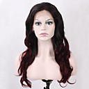 cheap Tattoo Ink-top selling long wavy black ombre red wine color for women with dark roots heat resistant synthetic lace front wigs