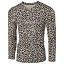 cheap Wall Stickers-Men's Punk & Gothic Cotton T-shirt - Leopard V Neck / Long Sleeve