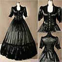 preiswerte Historische & Vintage Kostüme-Rokoko Viktorianisch Kostüm Damen Kleid Party Kostüme Vintage Cosplay Satin Kurzarm Kappe Boden-Länge Übergrössen Kundenspezifische