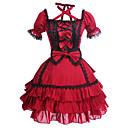 זול שמלות לוליטה-נסיכות לוליטה גותית שמלות בגדי ריקוד נשים בנות כותנה Japanese תחפושות Cosplay מידות גדולות מותאם אישית אדום נשף טלאים בלון\מנופח שרוולים קצרים Mini