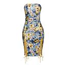 baratos Anéis-Mulheres Bandagem Tubinho Vestido - Vazado Estampado Estilo Floral, Floral Sem Alças Acima do Joelho