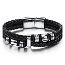 cheap Men's Bracelets-Men's Geometric Leather Bracelet - Stainless Steel, Leather Vintage, Punk, Rock Bracelet Black For Birthday Training Dailywear