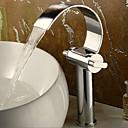halpa Kylpyhuoneen lavuaarihanat-Nykyaikainen Moderni Integroitu Vesiputous Messinkiventtiili Kaksi kahvaa yksi reikä Kromi, Kylpyhuone Sink hana