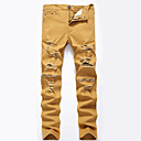 cheap Human Hair Wigs-Men's Cotton Loose / Slim / Jeans Pants - Solid Colored Khaki