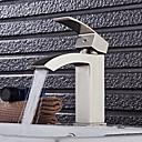 billige Vandhaner til badeværelset-Håndvasken vandhane - Vandfald Nikkel Børstet Centersat Enkelt håndtag Et Hul