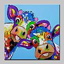 זול ציורי נוף-ציור שמן צבוע-Hang מצויר ביד - חיות מופשט (אבסטרקטי) מודרני / עכשווי בַּד
