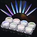 cheap Nail Brushes-8box 0 2g bottle neon nail glitter powder nail art holographic gel polish chrome pigment manicure dust nail art decor1pc brush