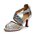 cheap Latin Shoes-Women's Latin Shoes Leatherette Sandal / Sneaker Buckle Chunky Heel Customizable Dance Shoes Gold / Silver / Professional