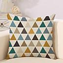 preiswerte Dekorative Kissen-1 Stück Baumwolle / Leinen Kissenbezug, Geometrische Muster / Neuheit / Modisch Geometrisch / Retro / Freizeit