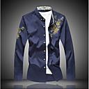 cheap Bag Sets-Men's Plus Size Cotton Slim Shirt - Floral Print / Long Sleeve