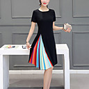 ieftine Jachete Fete & Paltoane-Pentru femei Mărime Plus Size Ieșire Linie A Rochie - Plisată, Bloc Culoare Lungime Genunchi