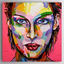 baratos Adesivos de Parede-Pintura a Óleo Pintados à mão - Pessoas Abstracto Incluir moldura interna / Lona esticada