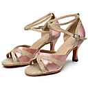 cheap Latin Shoes-Women's Latin Shoes Sparkling Glitter / Net / Silk Heel Buckle Customizable Dance Shoes Black / Purple / Almond / Indoor / Leather