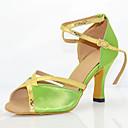 baratos Sapatos de Dança Moderna-Mulheres Sapatos de Dança Latina Seda Sandália / Têni Presilha Salto Agulha Personalizável Sapatos de Dança Verde / Couro / Profissional