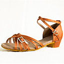 cheap Dance Sneakers-Women's Latin Shoes Satin Heel Rhinestone / Buttons Low Heel Customizable Dance Shoes Brown / Leather / Practice