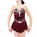 cheap Ice Skating Dresses , Pants & Jackets-Figure Skating Dress Women's / Girls' Ice Skating Dress Claret-red Spandex Rhinestone High Elasticity Performance Skating Wear Handmade