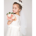 cheap Party Headpieces-One-tier Pencil Edge Wedding Veil Communion Veils with Appliques Tulle / Angel cut / Waterfall