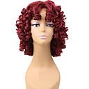 halpa Synteettiset peruukit ilmanmyssyä-Synteettiset peruukit Kihara Synteettiset hiukset Afro-amerikkalainen peruukki Punainen Peruukki Naisten Lyhyt Suojuksettomat