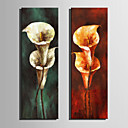 cheap Abstract Paintings-Oil Painting Hand Painted - Floral / Botanical Retro Canvas