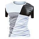 cheap Earrings-Men's Active Cotton Slim T-shirt - Color Block Black & White, Patchwork Round Neck / Short Sleeve